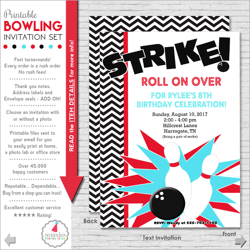 photo relating to Printable Bowling Party Invitations known as Bowling Celebration Invitation Bowling Birthday Invitation Bowling Invitation  Teenager Birthday Invitation Grownup Birthday Amandas Functions