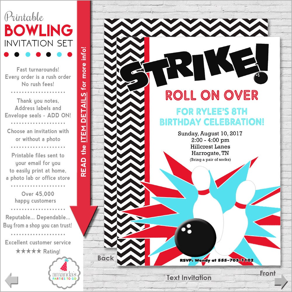 photo relating to Printable Bowling Party Invitations referred to as Bowling Occasion Invitation Bowling Birthday Invitation Bowling Invitation  Teenager Birthday Invitation Grownup Birthday Amandas Functions