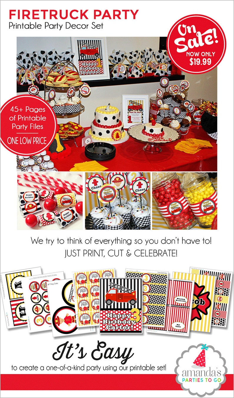 Firetruck Birthday Decorations Firetruck Party Printable image 0