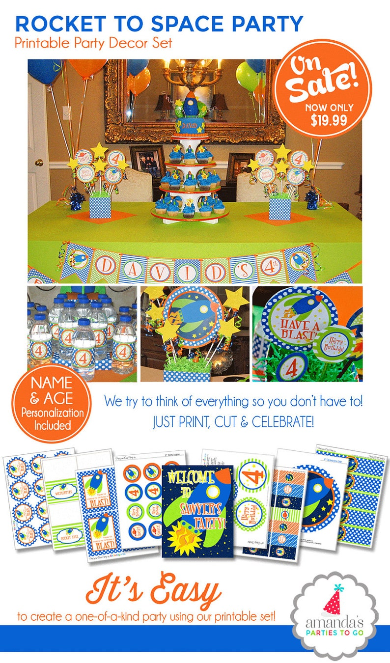 graphic relating to Printable Party Decorations identified as Area Birthday Decorations, House Bash Printables, Rocket Bash, Outer Spot Birthday, Boy 1st Birthday, Amandas Functions Toward Move