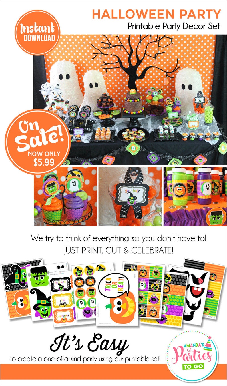 image about Printable Halloween Decorations identify Halloween Get together Printable Halloween Decorations Halloween Celebration Decor  Little ones Halloween Immediate Obtain Amandas Functions Towards Move