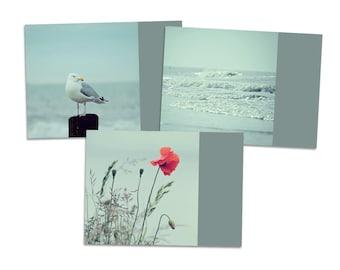 """3er Postkarten-Set """"SeeGang"""" - Postkarte Karte Fotografie Foto Meer Strand Ferien Sommer Möwe Mohn Wellen Wasser"""