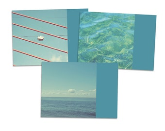 "3er Postkarten-Set ""SommerFerien"" - Postkarte Karte Fotografie Foto Meer Strand Ferien Sommer Wellen Wasser Pool"