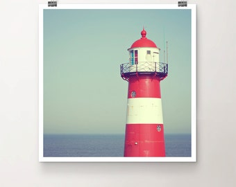 LightHouse - Fine Art Print Seaside Beacon Beach red white stripes architecture