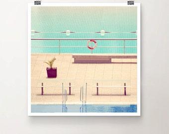 SplishSplash - Fine Art Print Swimming Pool Water Plant 50s mid-century modern summer Sunshine open air
