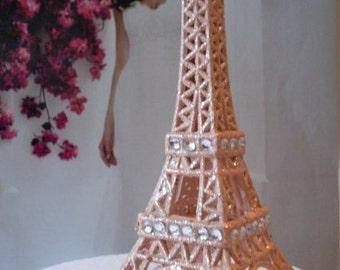 Peach Cream Paris Eiffel Tower Cake Topper  MEASURES  5  &  1/2 INCHES TALL Showers Nursery Decor  We Ship Internationally