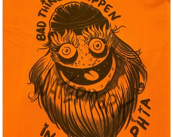 """Tshirt - """"Bad Things Happen In Philly"""" Gritty - Unisex Orange shirt"""