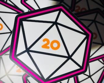 Sticker - 20 Sided Die - D&D