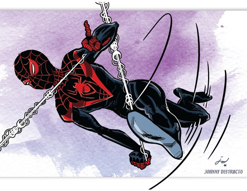 Miles Morales Spider-Man 8.5 x 11 Print with or w/o Frame ...