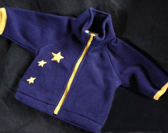 Hotsy Totsy fleece jacket with appliqued stars to simulate the little dipper in the night sky. sizes: 1 available in M, 4 available in L