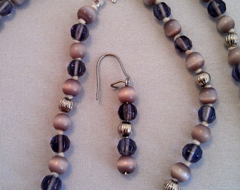 Lavender Cats Eye and Violet Glass Necklace and Earrings