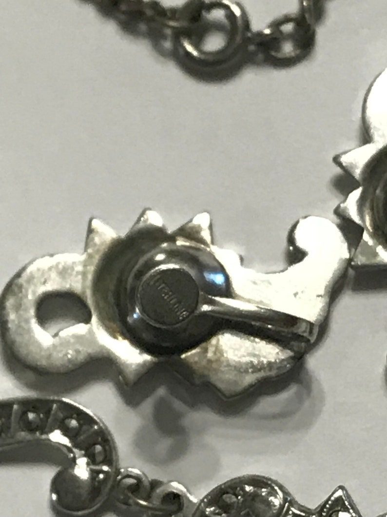 Victorian Iron Pyrite Marcasite Sterling Silver Star Celestial Flower Festoon Necklace Clip on Earrings Parure Set Octagram