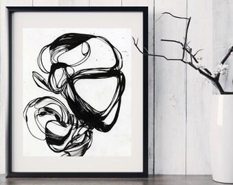 SWIRL - Abstract Black Ink Fine Art Print