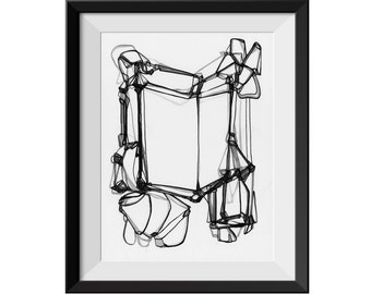 WINDOW PANES - Abstract ORIGINAL Black and White Painting