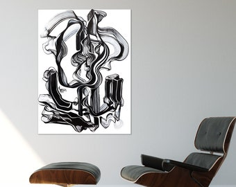 It Found its Way Through -  ORIGINAL Painting, Modern Art, Black and White, Abstract Line