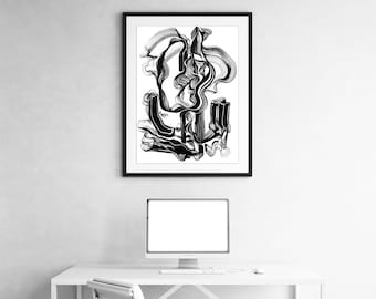 It Found its Way Through -  Abstract Black and White Fine Art Print