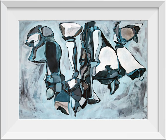 Fine Art Print Abstract Plant Painting Nature Painting Original Abstract Painting Blue Teal Painting Line Painting Water Giclee