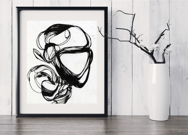 SWIRL  Abstract Black Ink Fine Art Print image 0