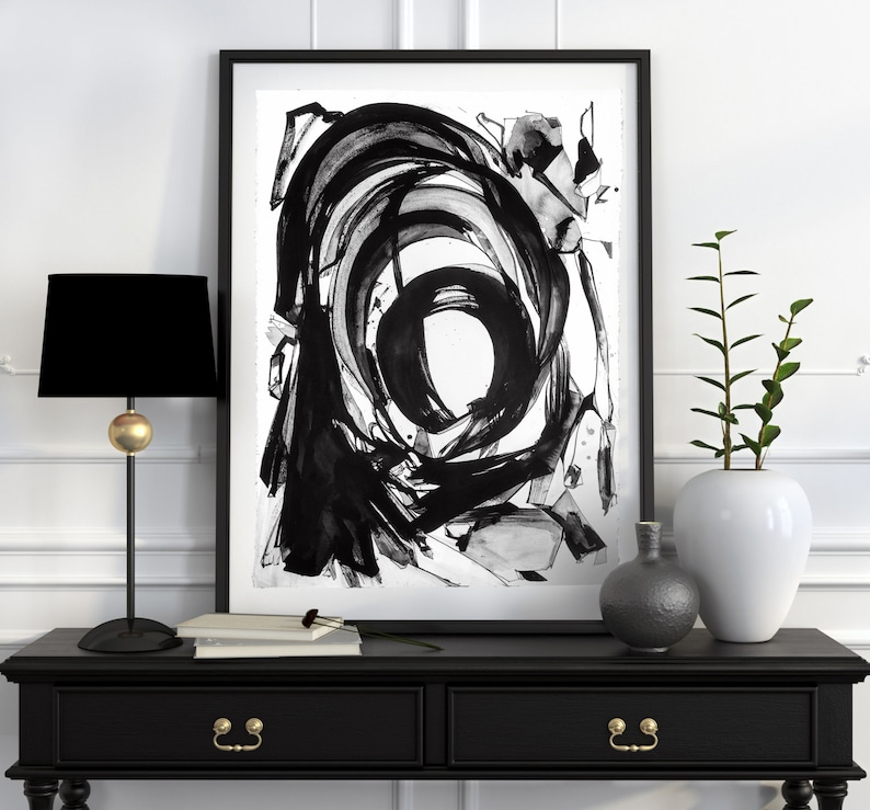 NUCLEUS Large Abstract ORIGINAL Black Ink Painting image 0