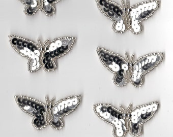 10 Silver Sequin Beaded Applique Butterfly Butterflies Costume Halloween Pageant Scrapbooking Dance Skating American Quinceañera