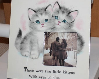 1958 The Kitten Twins Helen Wing Vintage Picture Frame Cat