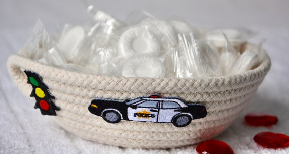 Boy Car Toy Holder, Handmade Baby Basket, Cute Nursery Decor, Police Car Candy Dish, Key Dish, Desk Accessory, Child Toy Bin