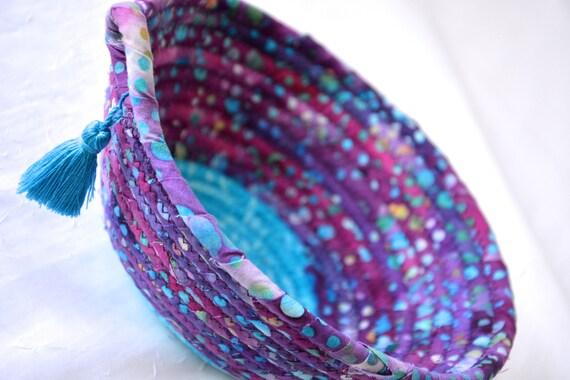 Bold Blue Basket, Boho Rope Basket, Handmade Rustic Key Basket, Decorative Batik Bowl, Ring Dish Tray, Textile Art Basket
