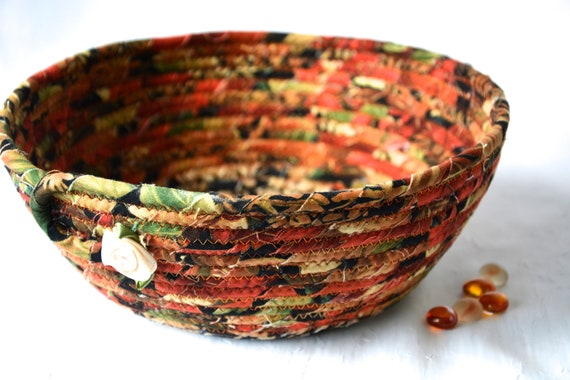Fall Red Basket, Handmade Fabric Bowl, Autumn Gift Basket, Napkin Holder, Thanksgiving Fruit Bowl, Table Home Decor, Decoration