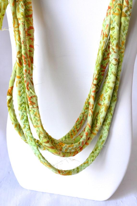 Boho Beach Necklace, Lovely Green Necklace, Handmade Batik Fabric Necklace, Multi Strand Skinny Fiber Wrap Jewelry, Gorgeous Beach Wrap