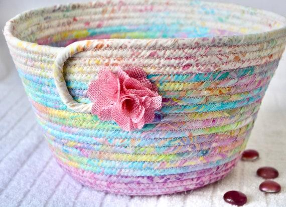 Pink Spring Basket, Handmade Batik Fabric Basket, Fruit Bowl, Gorgeous Easter Decoration, Napkin Holder, Mail Bin, Mother's Day Gift