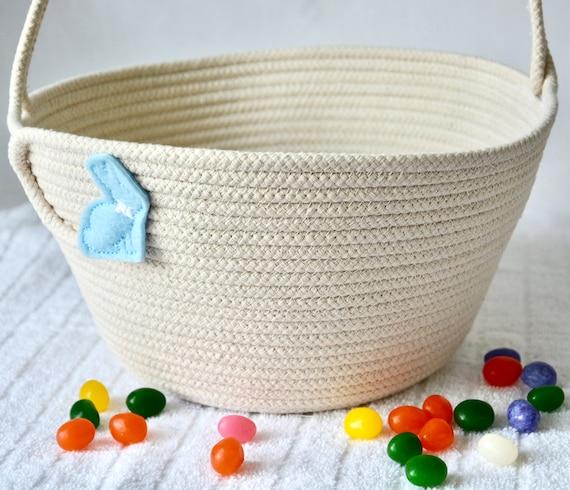Boy Easter Bucket, Handmade Easter Basket, Beige Easter Egg Hunt Bag, Spring Decoration, Neutrals Rope Baby Basket, Free Name Tag