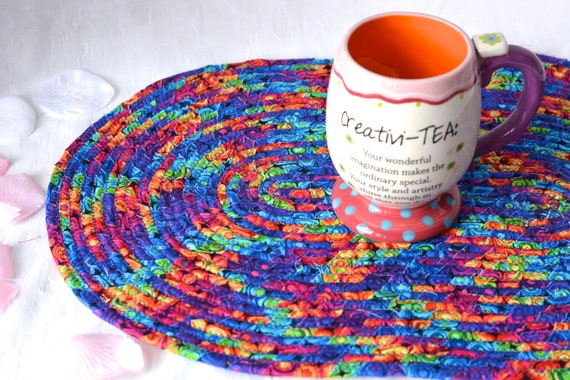 Fun Table Topper, Homemade Table Mat, Lovely Trivet, Rainbow Hot Pad, Artisan Coiled Fabric Trivets, Purple Table Runner, Rope Coiled