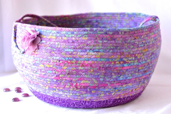 Pretty Bolga Style Basket, Purple Violet Home Decor, Handmade Coiled Rope Basket, Lovely Storage Organizer, Knitting Project Bag