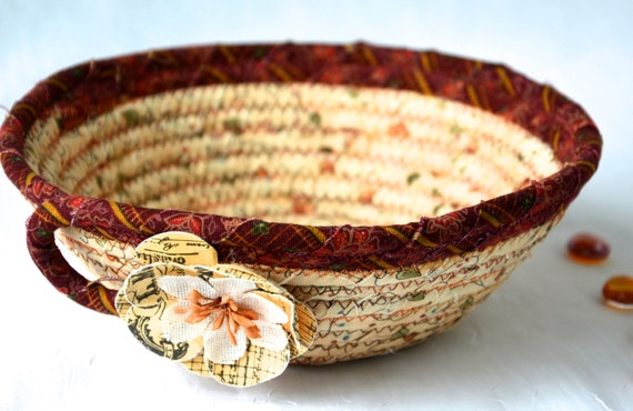 Fall Candy Bowl, Maroon Fabric Basket, Desk Accessory Basket, Halloween Change Dish, Coin Holder, Fall Halloween Decoration