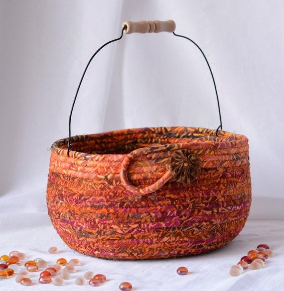 Thanksgiving Basket, Handmade Batik Bowl, Fruit Bowl, Indian Corn Decor Basket, Napkin Holder, Fall Bread Basket, Bolga Decorative Basket
