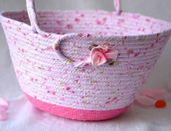 Pink Easter Basket, Handmade Flower Girl Basket, Pretty Easter Decoration, Pink Baby Easter Bucket, Handled Basket, Coiled Rope Basket