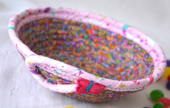 Pink Ring Basket, Candy Dish, Girl Party Favor Gift, Bling Catcher, Quilted Rope Basket, Handmade Pink Bowl, Cute Desk Accessory Bowl