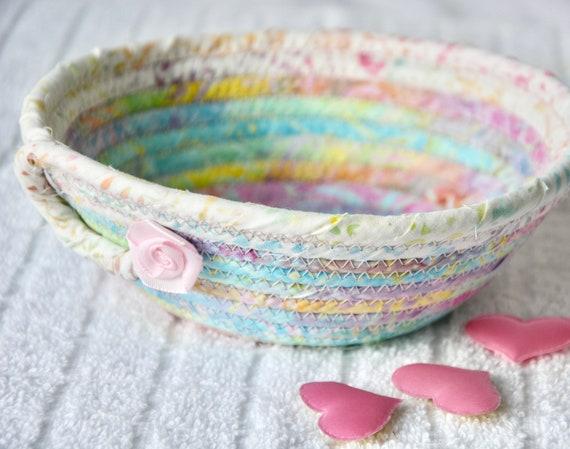 Pastel Key Dish, 1 Handmade Batik Fabric Bowl, Pink Candy Dish, Ring Tray, Quilted Cotton Basket, Potpourri Holder, Change Bowl