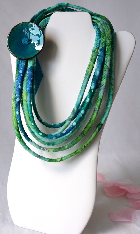 Fall Women Necklace, Handmade Batik Jewelry, Multi Strand Infinity Necklace, Teal Green Skinny Trendy Fabric and Rope Wrap