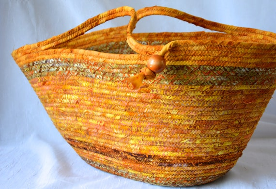 Fall Harvest Basket, Tote Bag, Handmade Batik Basket, Picnic Basket, Laptop Purse Case, Unique  Coiled Rope Basket, Clothesline ArtOOAK