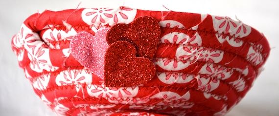 Valentine's Day Gift Basket, Red Key Bowl, Handmade Candy Dish, Potpourri Basket, Candle Holder, Change Bowl, Cute Valentine Home Decor