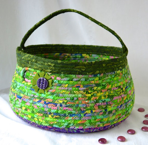 Boho Bolga Basket, Green Handled Handmade Storage Basket, Dog Bed Furniture, Batik Magazine Rack, Green and Purple Book Bin, Pet Toy Bin