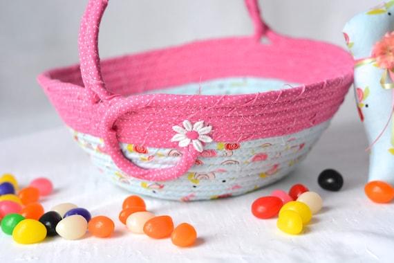Pink Easter Basket, Baby First Easter Basket and Cute Matching Easter Bunny, Handmade Flower Girl Basket, Pink Stuffed Animal Bin