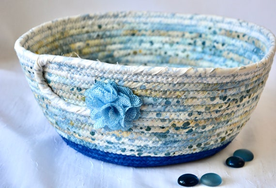 Indigo Blue Basket, Handmade Country Bowl, Gorgeous Quilted Cotton Basket, Boho Chic Bowl, Mail Basket, Remote Control Holder