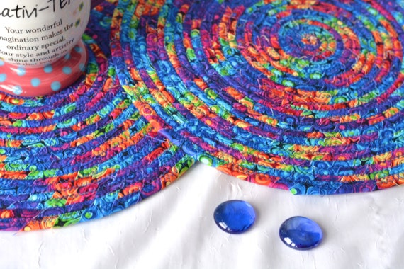 Blue Place Mats,Trivets, 2 Homemade Table Mats, Lovely Table Toppers, 2 Rainbow Hot Pads, Artisan Coiled Fabric Trivets