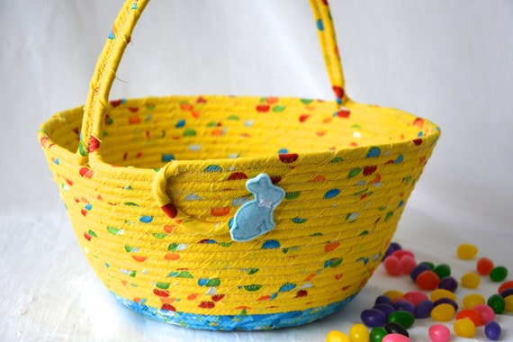 Boy Easter Basket, Handmade Yellow Easter Bucket, Cute Toy Storage Bin, Fun Easter Egg Hunt Bag, Book Bin, Boy Room Decor