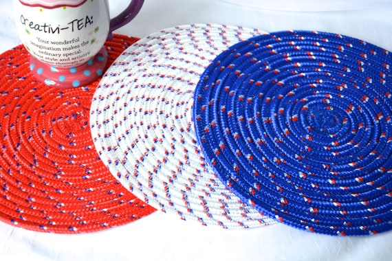 Patriotic Trivets, 3 Red White and Blue Table Mats, Nylon Place Mats, Handmade Table Toppers, Runner, Hot pad, Picnic Potholder