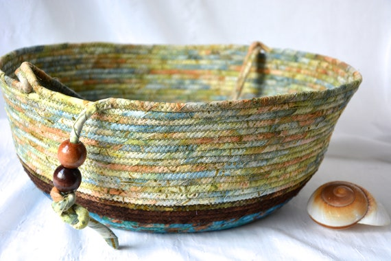 Fall Decor Basket, Beige Batik Basket, Handmade Textile Art Basket, Coiled Rope Basket with handle, Country Fabric Bin