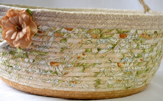 Spring Scarf Holder, Handled Bolga Bin, Handmade Yarn Holder, Neutrals Storage Organizer, Knitting Project Bag,  Hat Basket