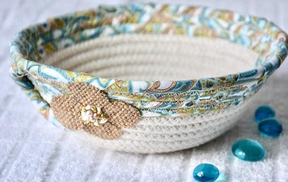 Turquoise Key Basket, Handmade Fabric Bowl, Blue Ring Dish, Beige Potpourri Bowl, Cute Desk Accessory, Candy Dish, Gift Basket